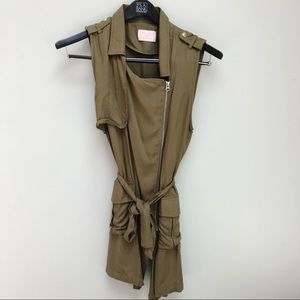 Army Green Military Zip Up Dress Vest NWOT